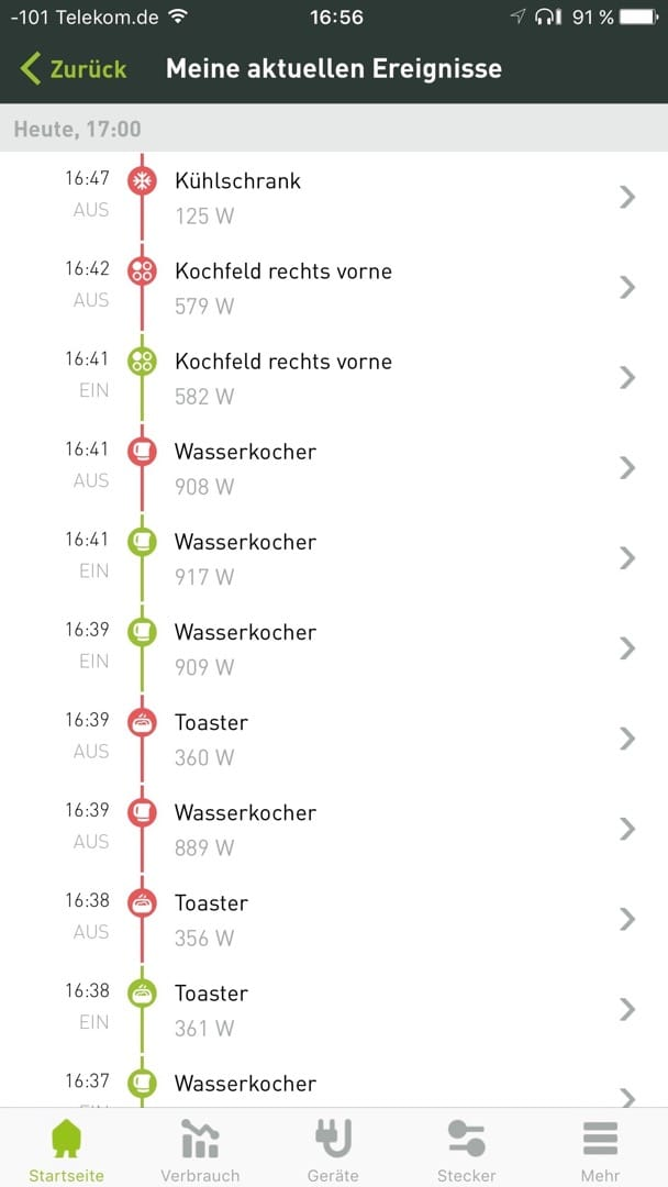 Smappee Monitor: Ereignisliste.