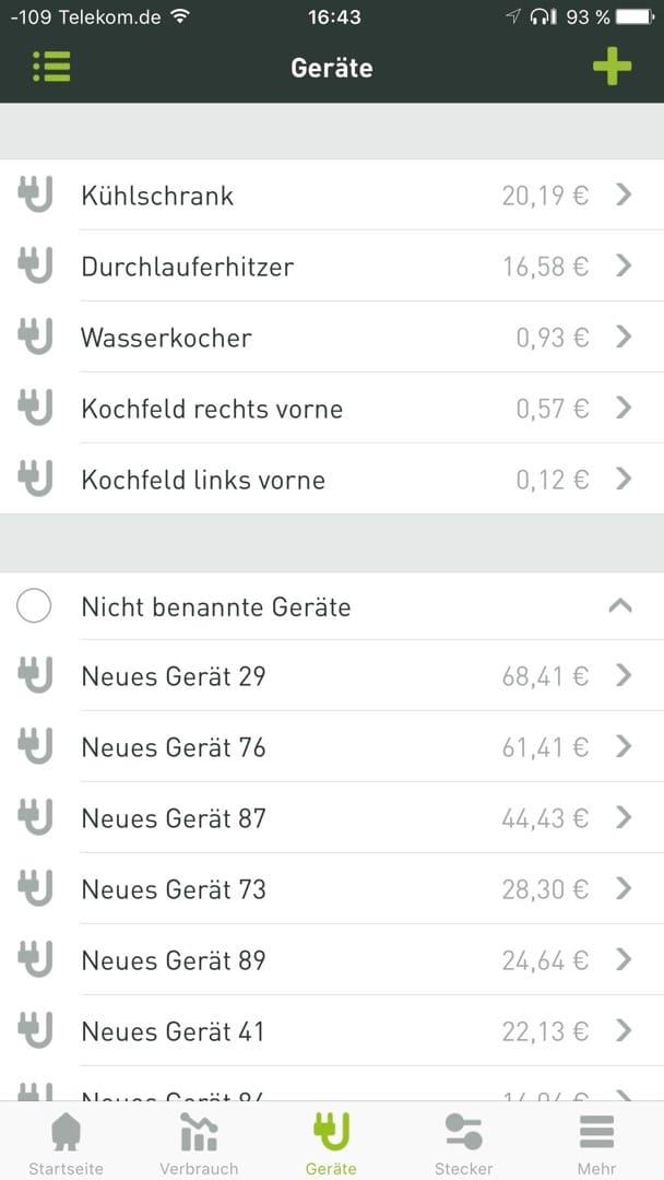Smappee Monitor: Die Geräteliste zeigt unbekannte und bekannte Elektro-Hausgeräte.
