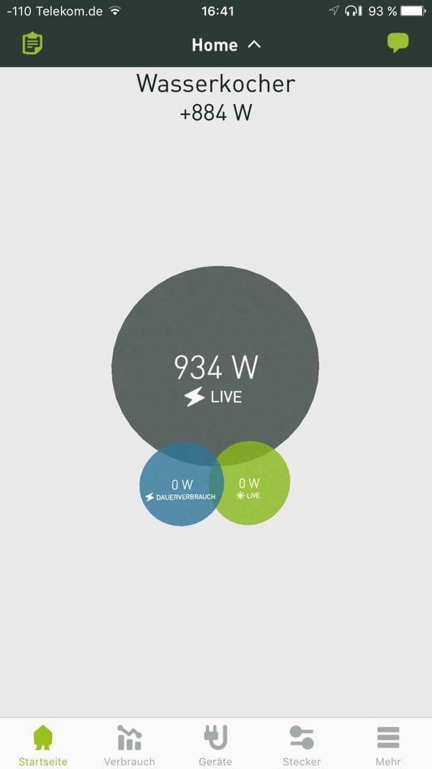 Smappee Monitor: Stromverbrauch Leistungsaufnahme Wasserkocher.